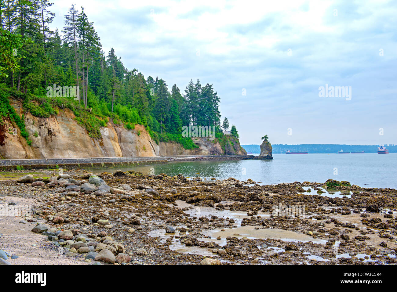 View of the Siwash Rock taken at Stanley Park seawall trail in Vancouver, BC Stock Photo