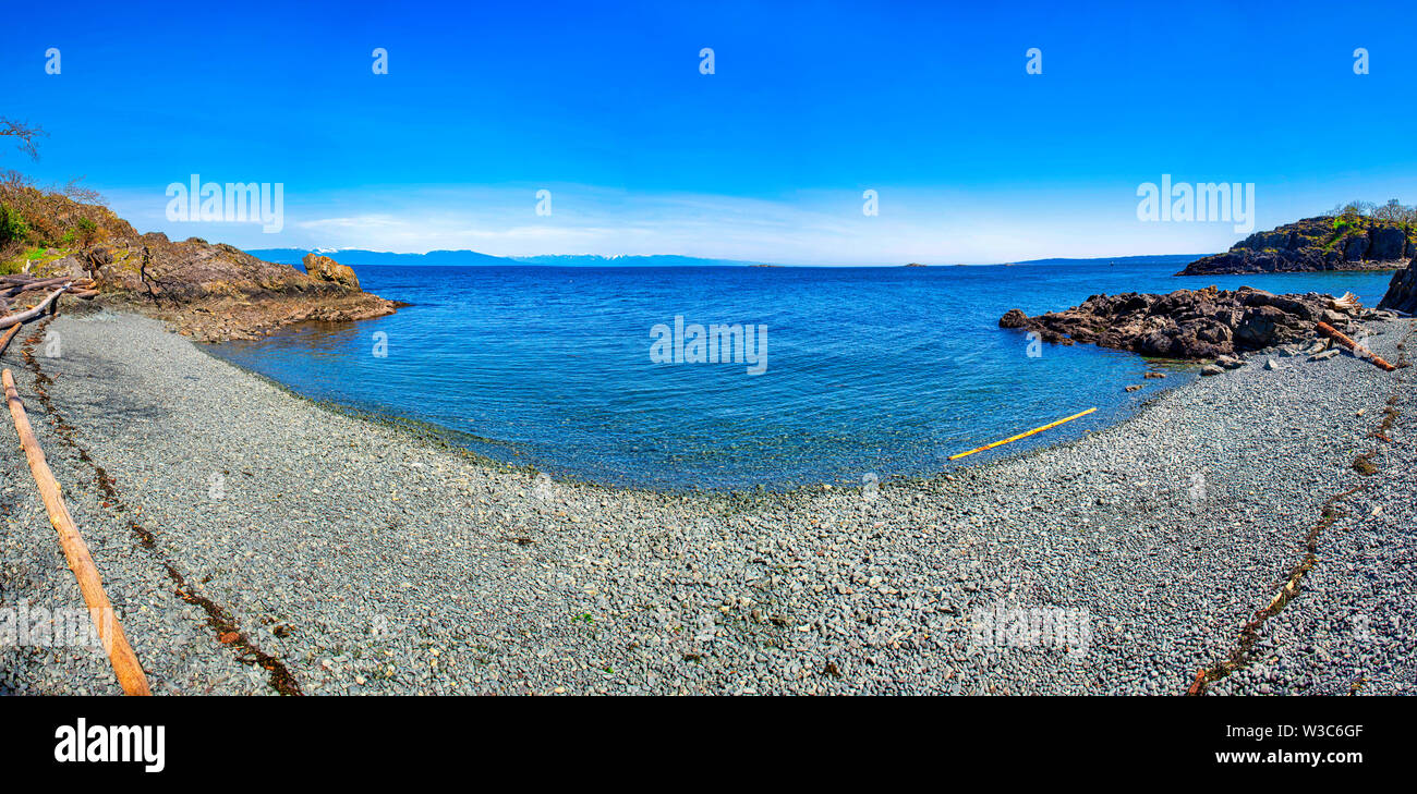 Panoramic view of Pipers Lagoon, a popular destination with beaches and trails on Vancouver Island, BC Stock Photo