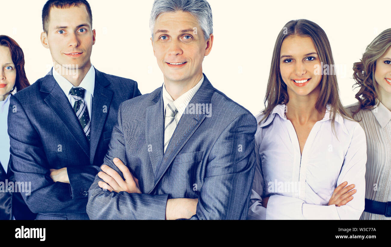 Business people team stand each other, smiling and posing for the camera isolated on white background - Stock Image