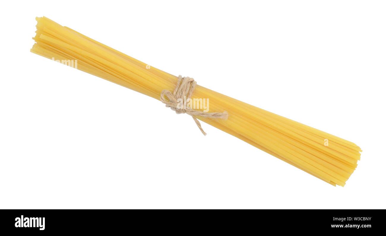 Bunch pasta spaghetti macaroni isolated on white background - Stock Image