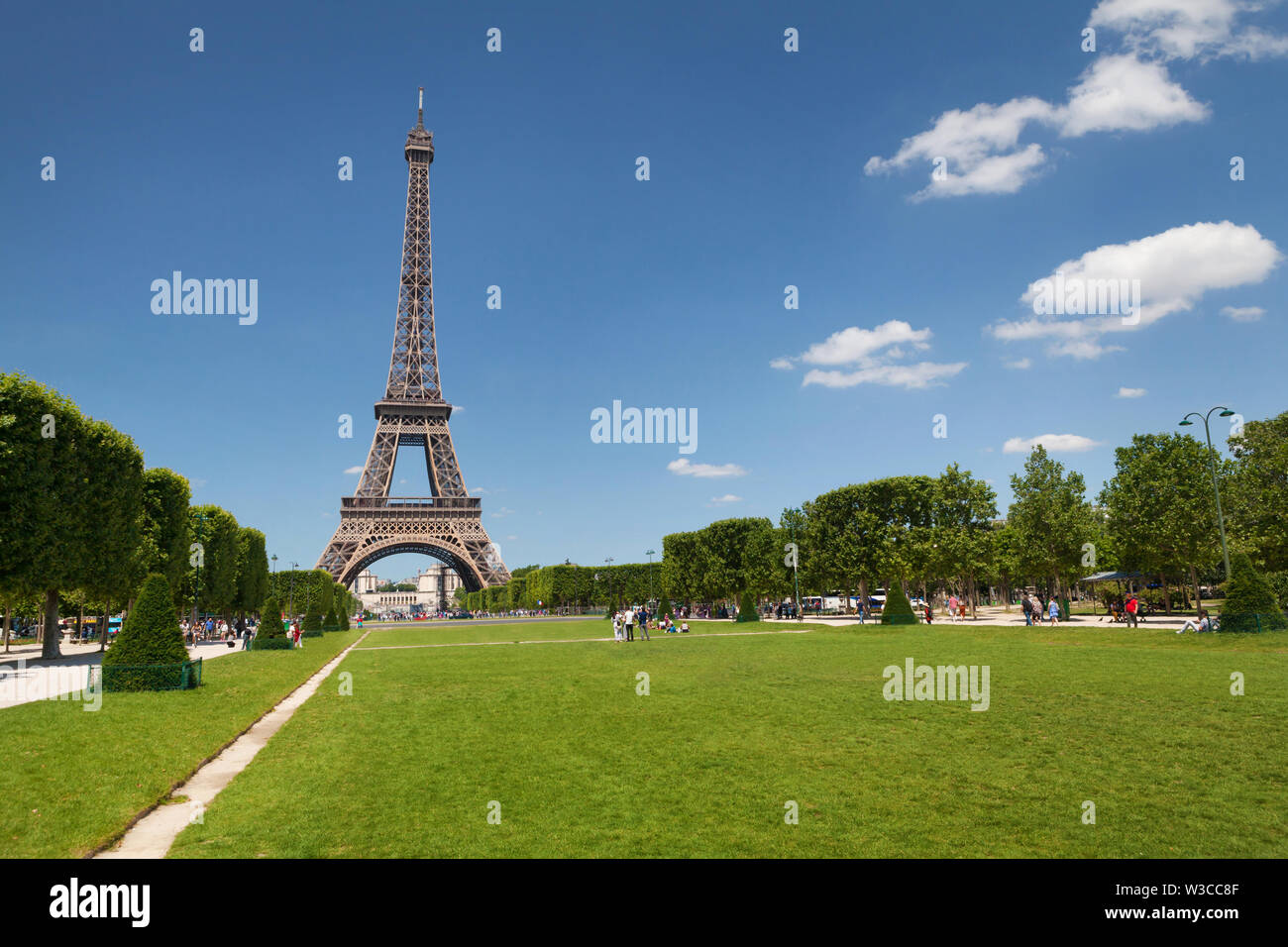 Eiffel tower and Mars field meadow, Paris. France. Tourist greeting card - Stock Image