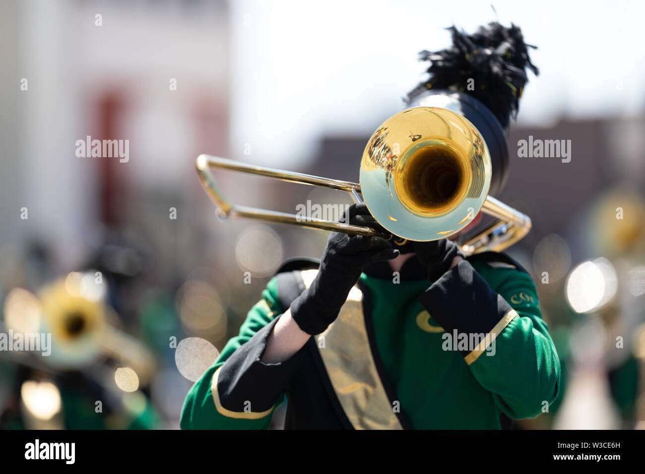 Benton Harbor, Michigan, USA - May 4, 2019: Blossomtime Festival Grand Floral Parade, Members of the Coloma High School Marching Band  performing at t - Stock Image