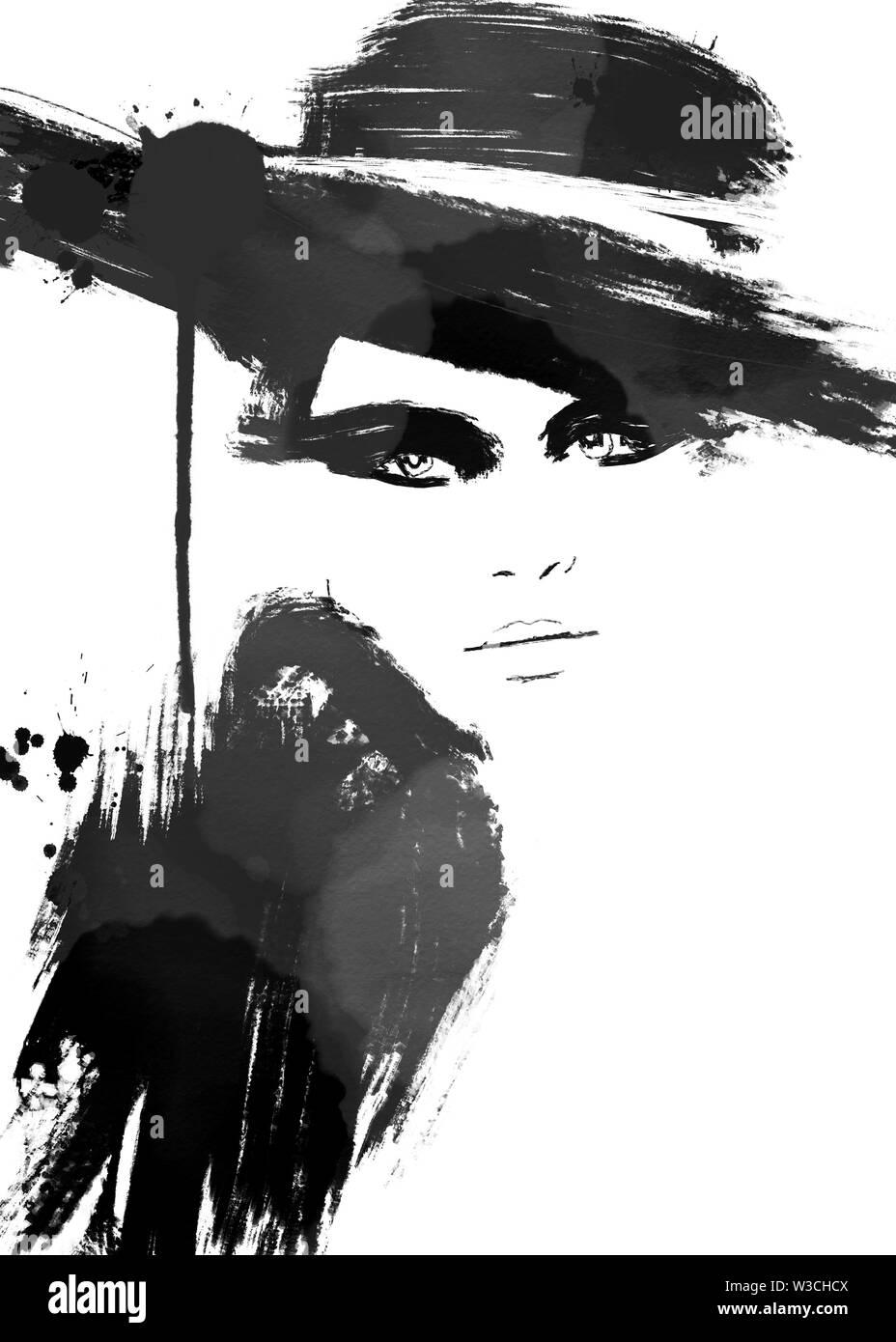 Fashion Illustration Black And White Fashion Sketch