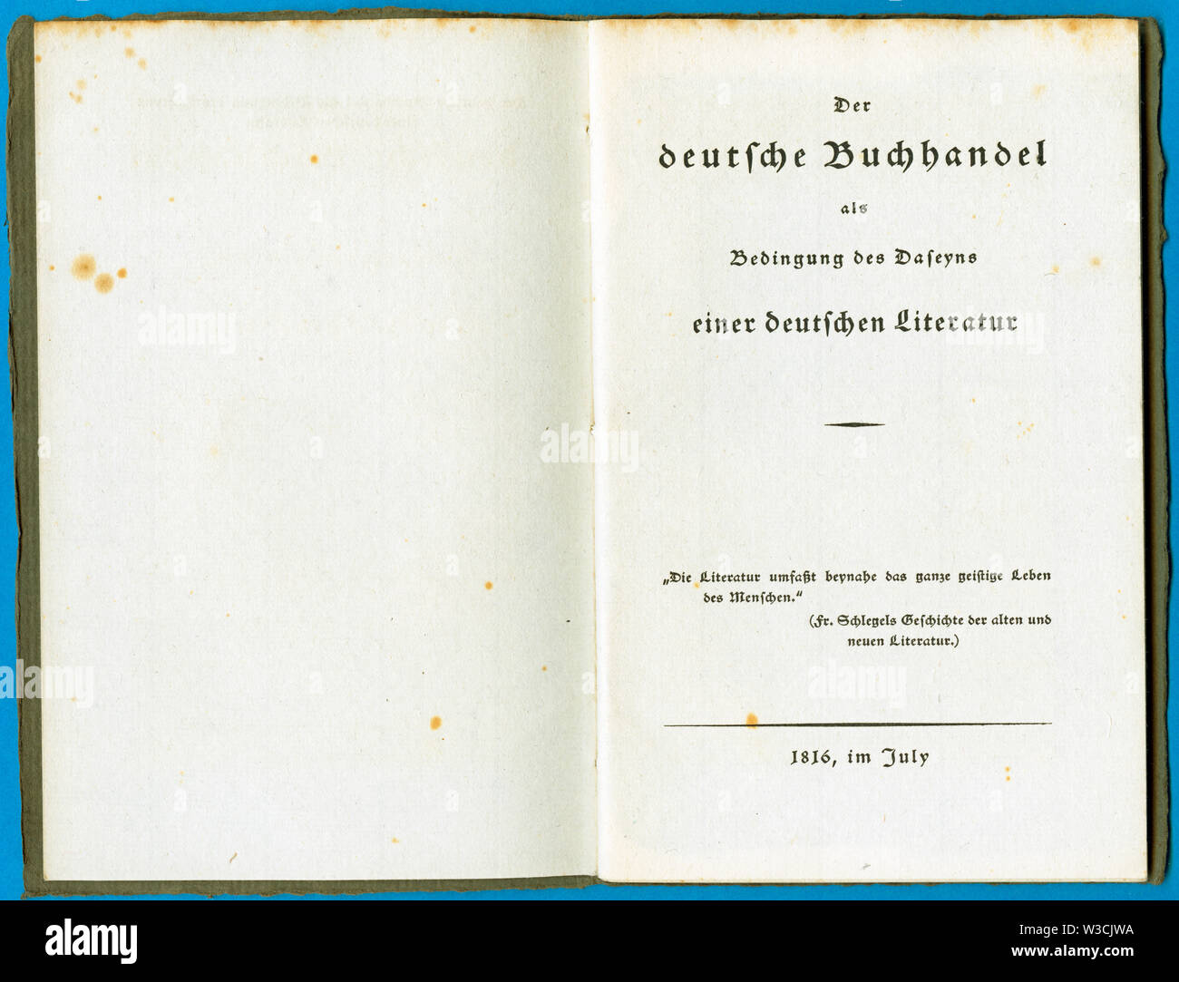 Deutschland, Broschüre ' Der deutsche Buchhandel als Bedingung des Daseyns einer deutschen Literatur ',  30 Seiten , herausgegeben im July 1816. / Ger - Stock Image