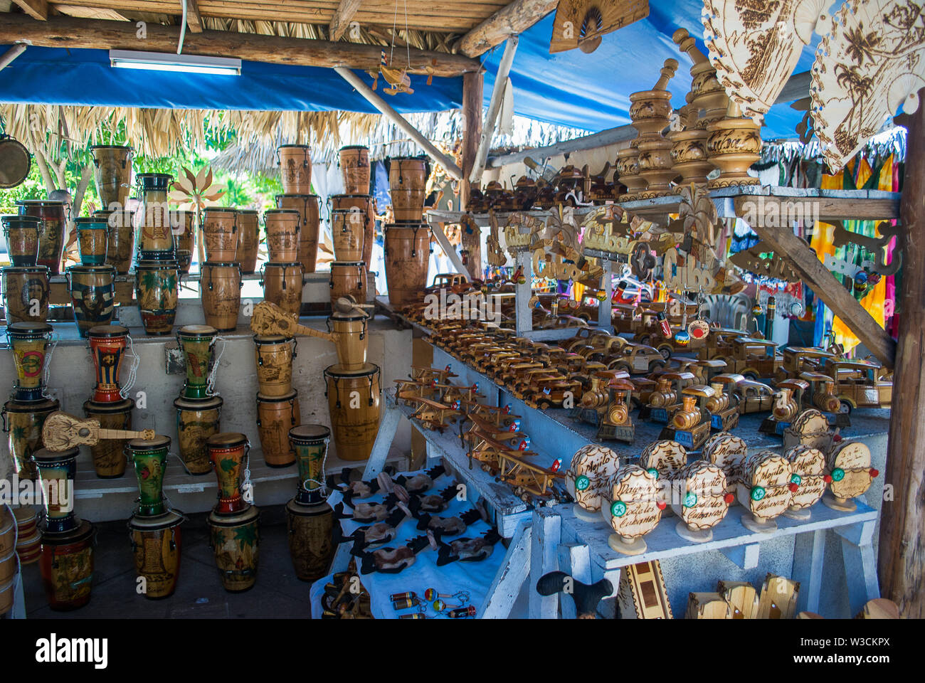 Matanzas, Varadero - Cuba / October 11 2011, Stall with beautiful wooden handmade souvenirs from Cuba - Stock Image