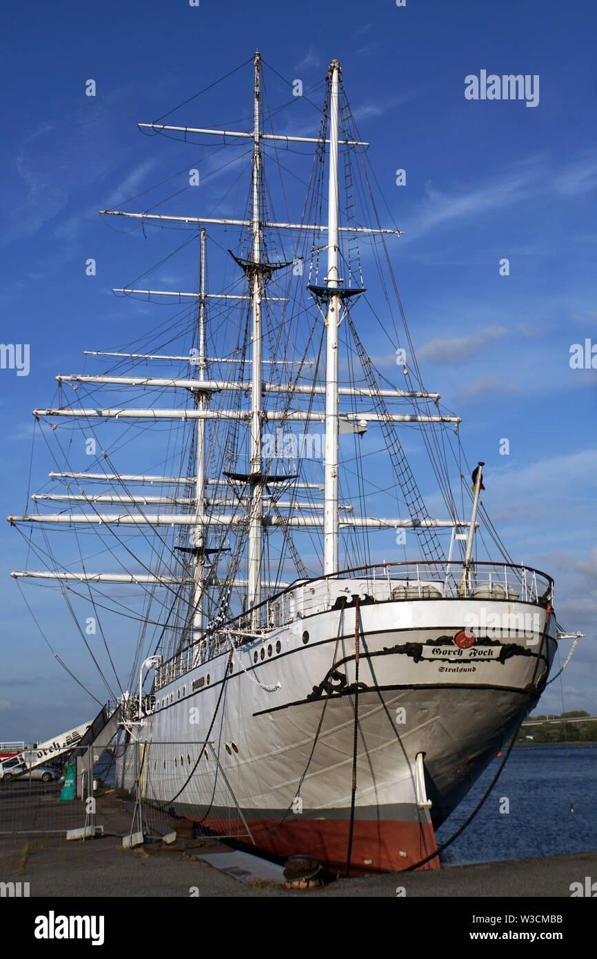 Museumsschiff Gorch Fock I im Hafen der Hansestadt Stralsund, Mecklenburg-Vorpommern, Deutschland - Stock Image