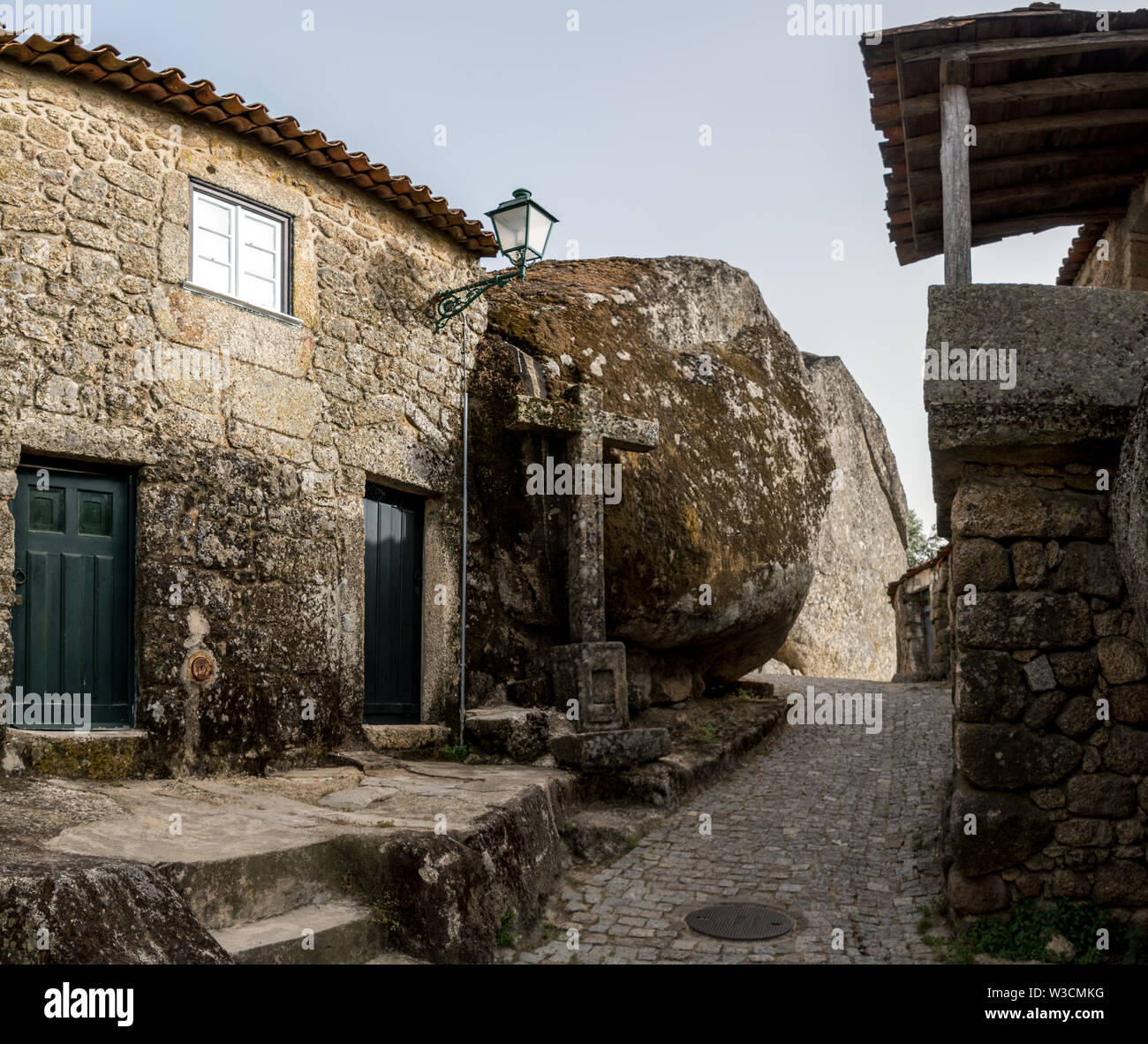 The narrow streets and rustic houses of the village of Monsanto, Portugal Stock Photo