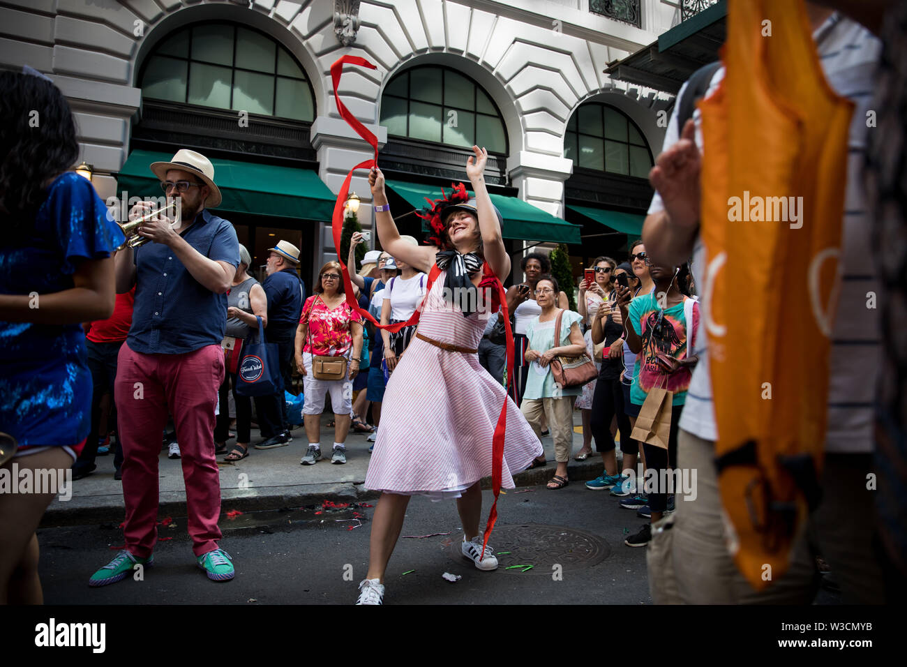 New York, USA. 14th July 2019. New York, French National Day. 14th July, 1789. Members of the Hungry March Band perform during the French Institute Alliance Francaise (FIAF)'s Bastille Day Celebration in New York, the United States, July 14, 2019. Bastille Day, also known as the French National Day, commemorates the start of the French Revolution and the storming of the Bastille in Paris on July 14, 1789. Credit: Michael Nagle/Xinhua/Alamy Live News - Stock Image