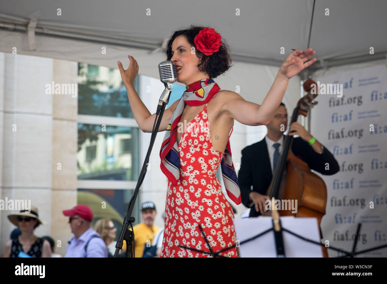 New York, USA. 14th July 2019. New York, French National Day. 14th July, 1789. A singer performs during the French Institute Alliance Francaise (FIAF)'s Bastille Day Celebration in New York, the United States, July 14, 2019. Bastille Day, also known as the French National Day, commemorates the start of the French Revolution and the storming of the Bastille in Paris on July 14, 1789. Credit: Michael Nagle/Xinhua/Alamy Live News - Stock Image