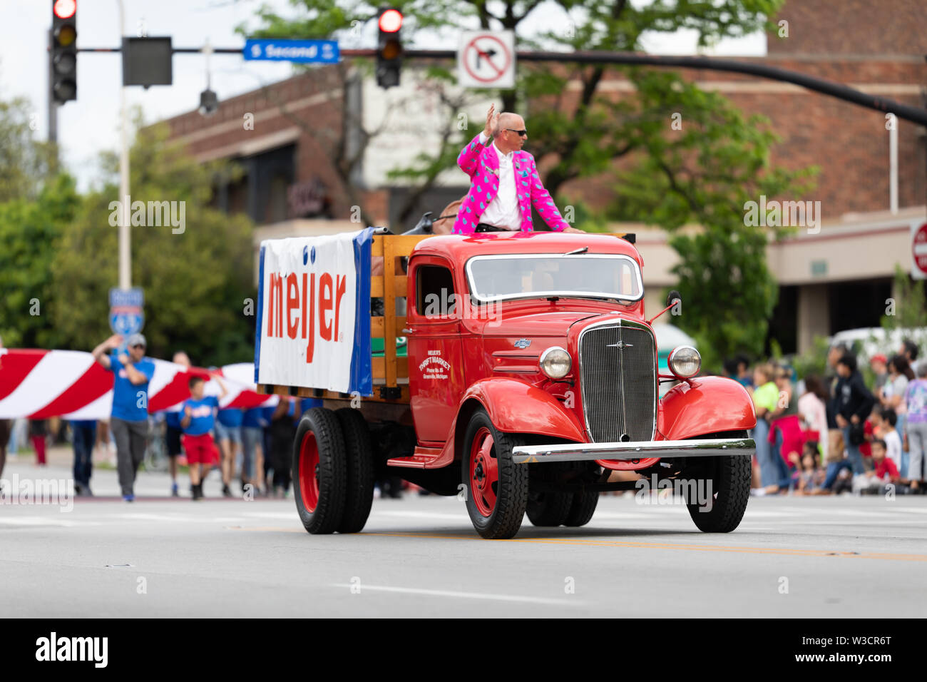 Louisville, Kentucky, USA - May 2, 2019: The Pegasus Parade, Old Meijer truck, promoting Meijer during the parade - Stock Image