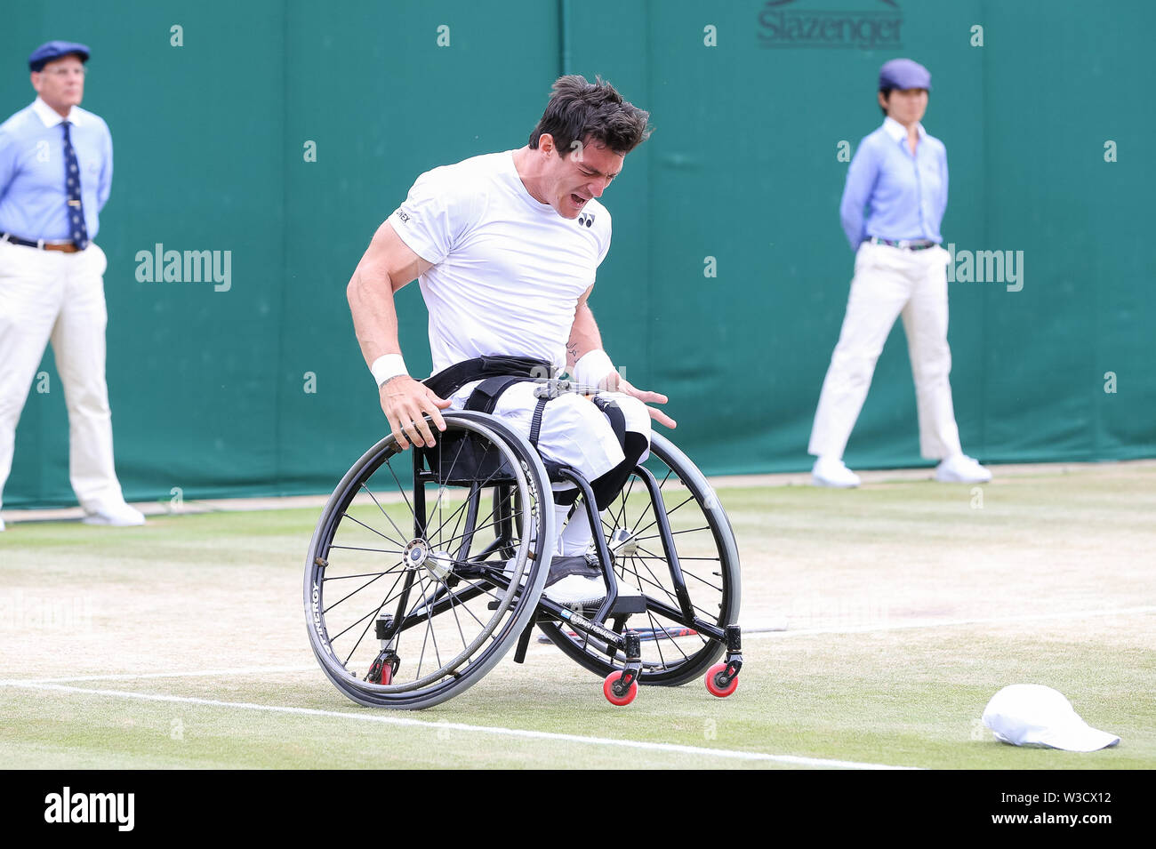Wimbledon, London, UK. 14th July 2019. Gustavo Fernandez of Argentina celebrates after winning the men's wheelchair singles final match of the Wimbledon Lawn Tennis Championships against Shingo Kunieda of Japan at the All England Lawn Tennis and Croquet Club in London, England on July 14, 2019. Credit: AFLO/Alamy Live News - Stock Image