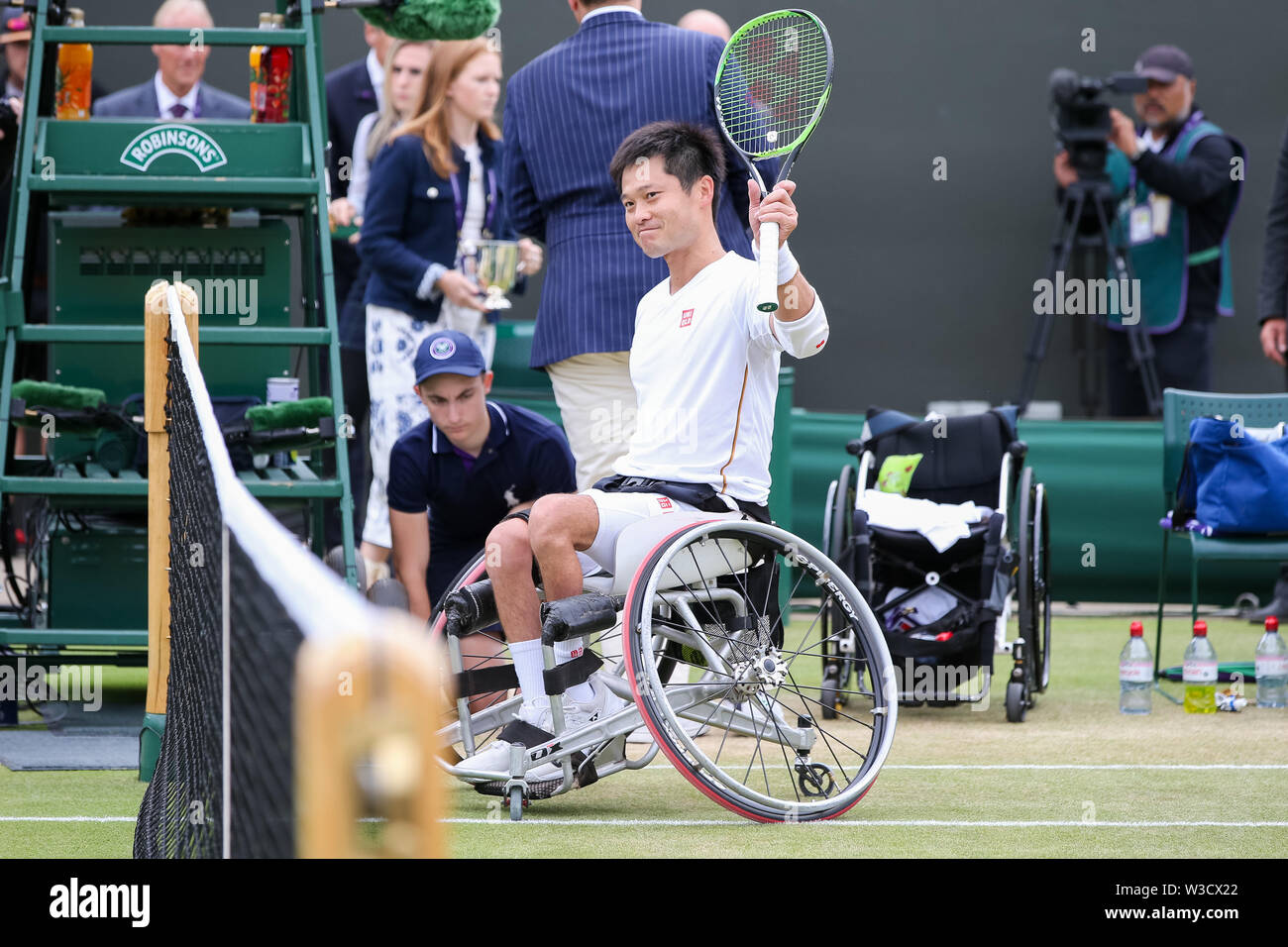 Wimbledon, London, UK. 14th July 2019. Shingo Kunieda of Japan waves to the fans after the men's wheelchair singles final match of the Wimbledon Lawn Tennis Championships against Gustavo Fernandez of Argentina at the All England Lawn Tennis and Croquet Club in London, England on July 14, 2019. Credit: AFLO/Alamy Live News - Stock Image