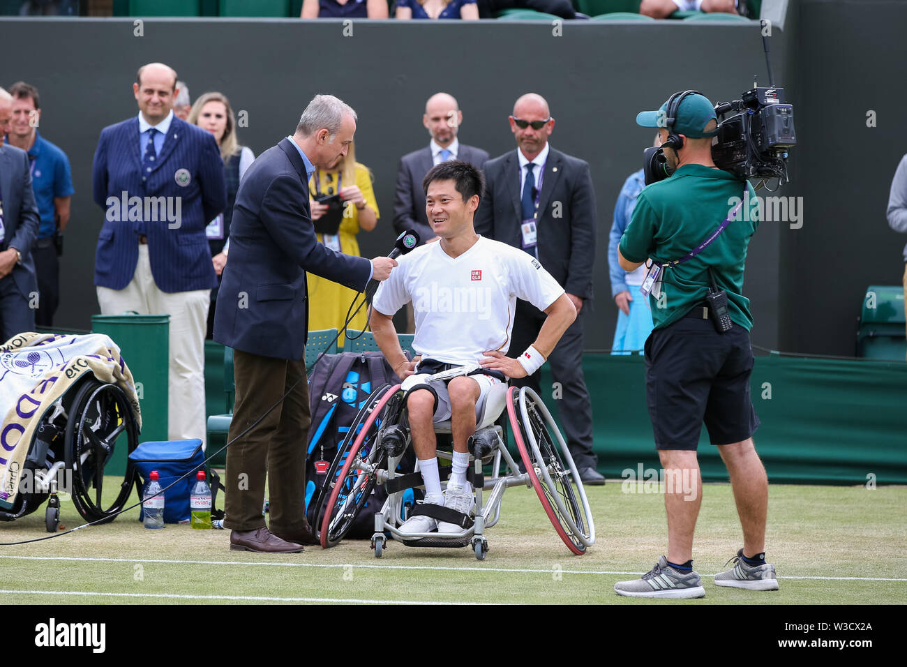 Wimbledon, London, UK. 14th July 2019. Shingo Kunieda of Japan speaks after the men's wheelchair singles final match of the Wimbledon Lawn Tennis Championships against Gustavo Fernandez of Argentina at the All England Lawn Tennis and Croquet Club in London, England on July 14, 2019. Credit: AFLO/Alamy Live News - Stock Image