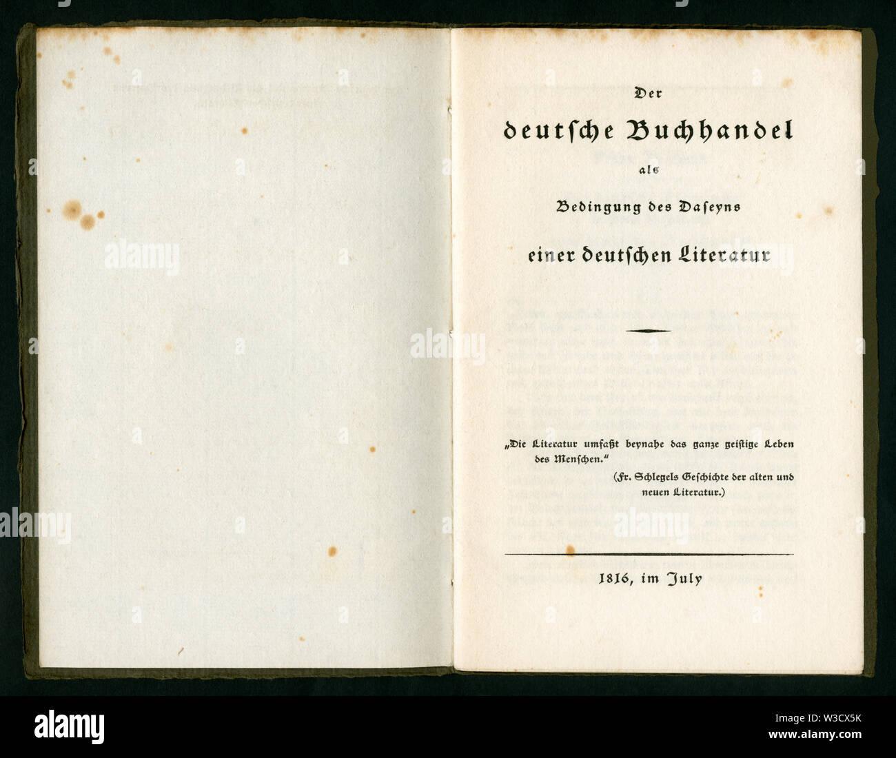 Europa, Deutschland, Broschüre ' Der deutsche Buchhandel als Bedingung des Daseyns einer deutschen Literatur ',  Schmutztitel und Titel, 30 Seiten , h - Stock Image