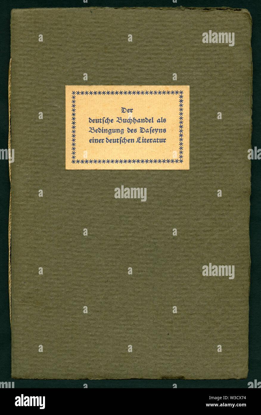 Europa, Deutschland, Broschüre ' Der deutsche Buchhandel als Bedingung des Daseyns einer deutschen Literatur ',  Titel, 30 Seiten , herausgegeben im J - Stock Image