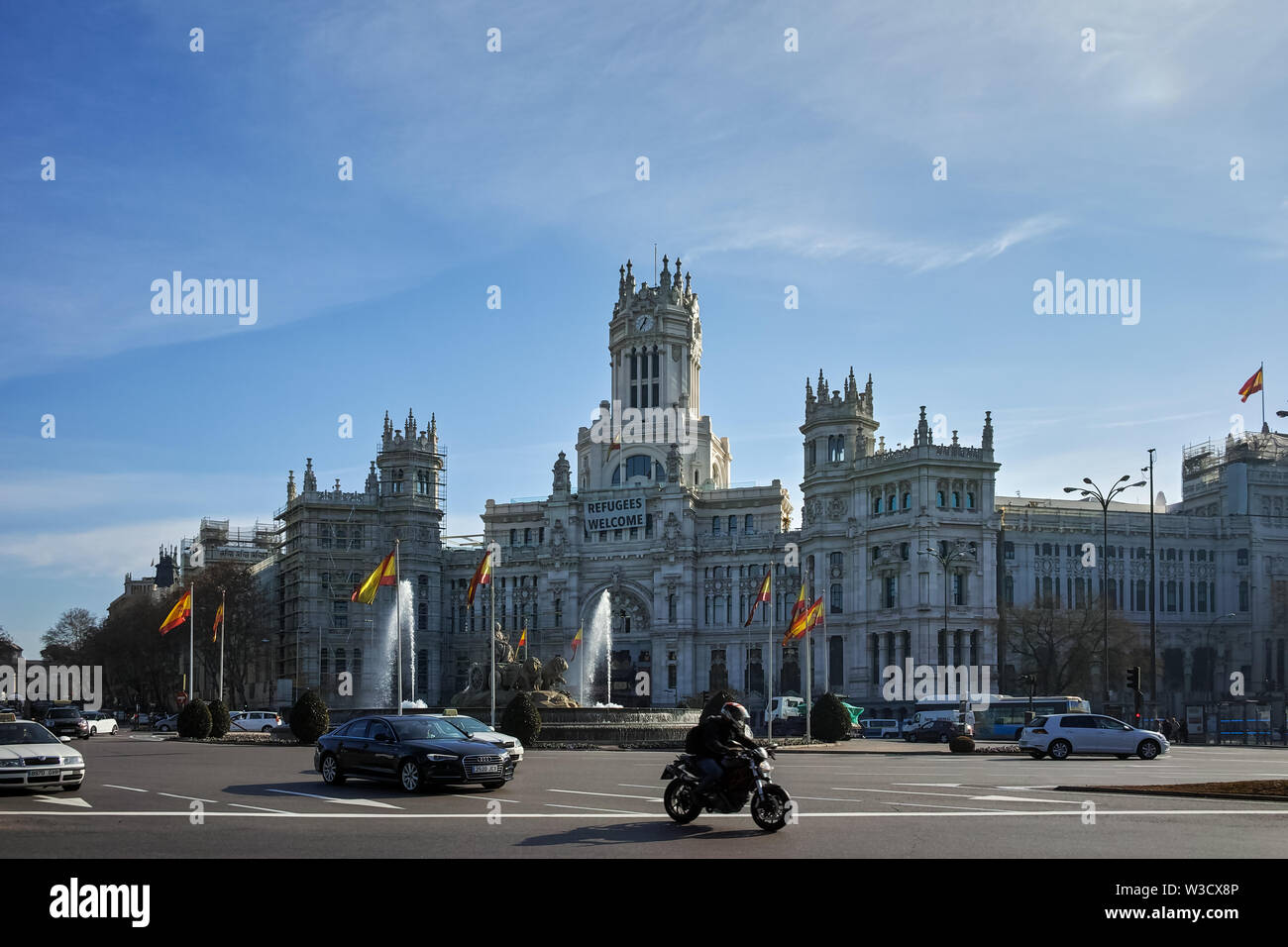 MADRID, SPAIN - JANUARY 24, 2018: Palace of Cibeles at Cibeles square in City of Madrid, Spain - Stock Image
