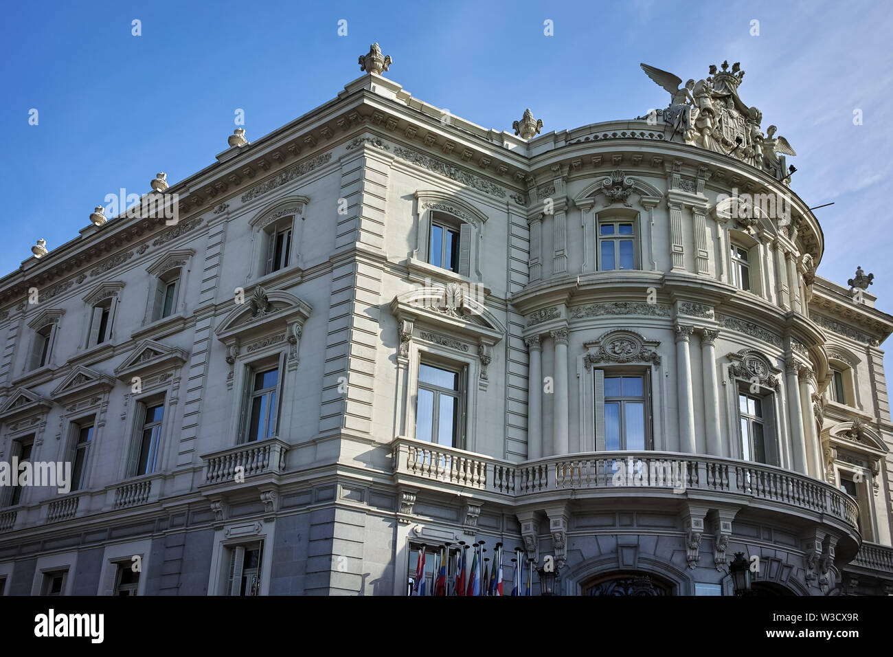 MADRID, SPAIN - JANUARY 24, 2018: Palace of Linares at Cibeles square in City of Madrid, Spain - Stock Image