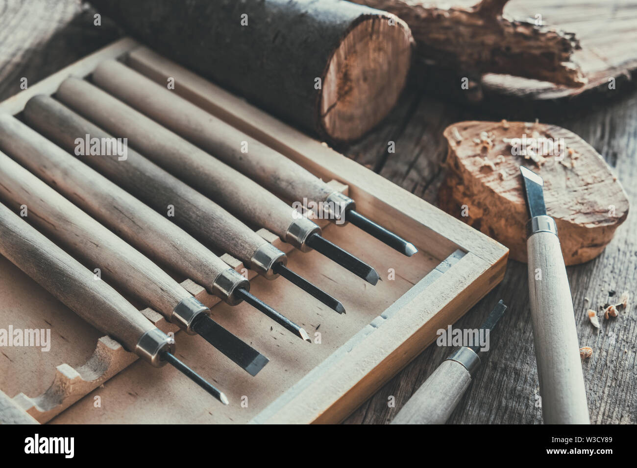 Woodworking tools for wood carving and trees cuts on wooden board. - Stock Image