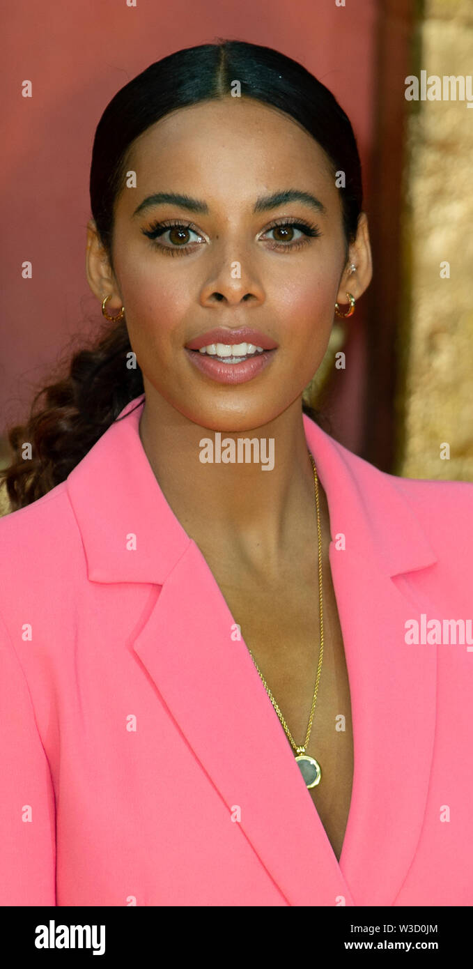 London, United Kingdom. 14 July 2019. Rochelle Humes attends the 'The Lion King' European Premiere held at the Odeon Luxe, Leicester Square. Credit: Peter Manning/Alamy Live News - Stock Image