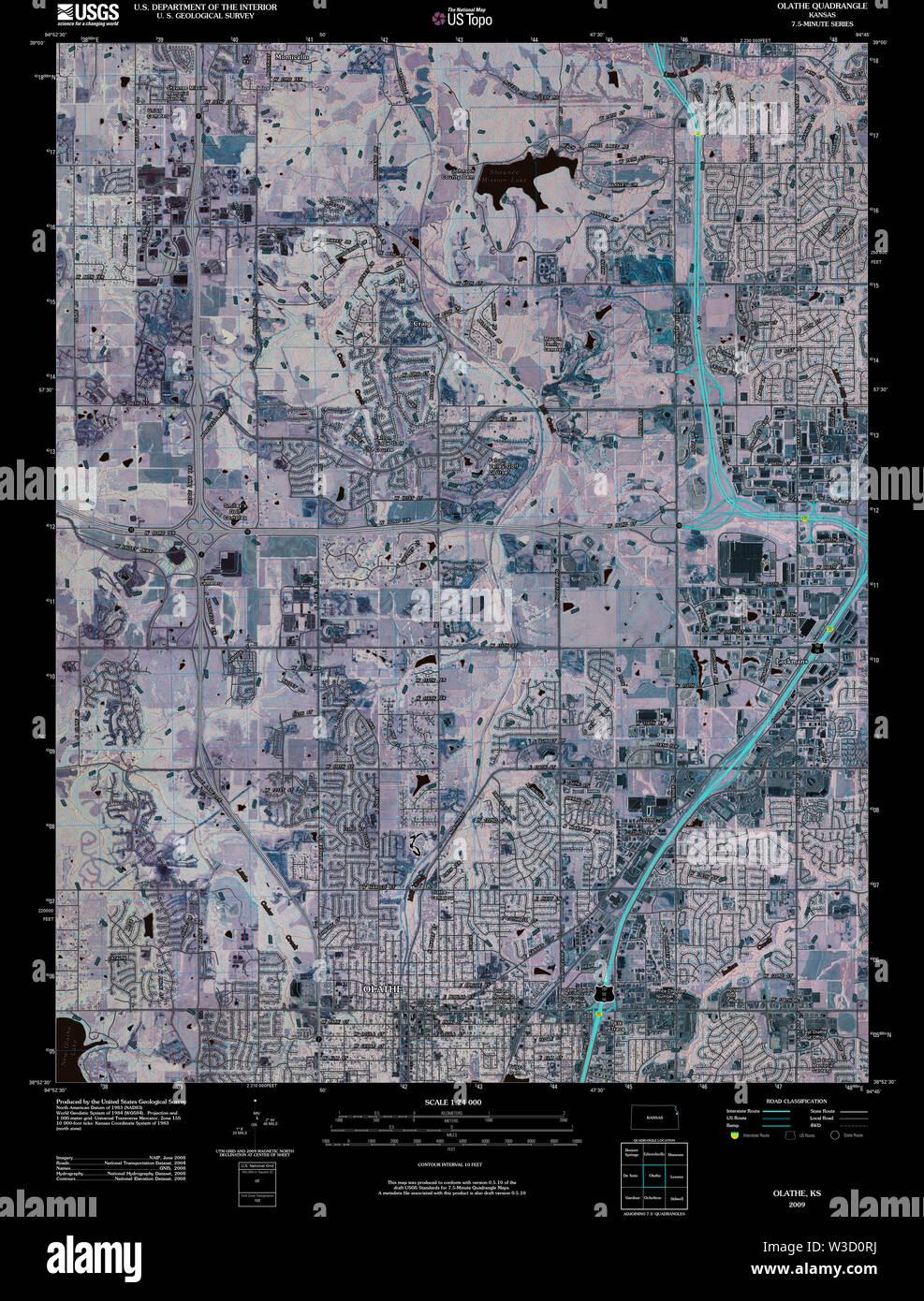 USGS TOPO Map Kansas KS Olathe 20091217 TM Inverted Restoration - Stock Image