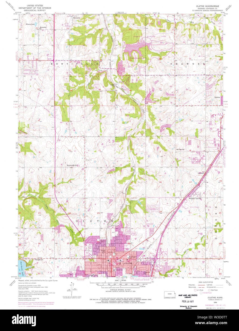 USGS TOPO Map Kansas KS Olathe 512161 1956 24000 Restoration - Stock Image