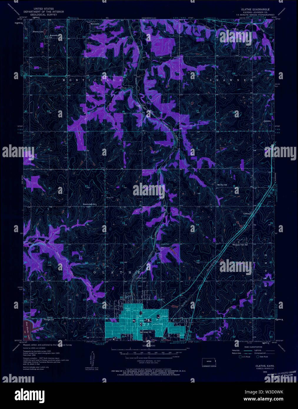 USGS TOPO Map Kansas KS Olathe 512163 1956 24000 Inverted Restoration - Stock Image