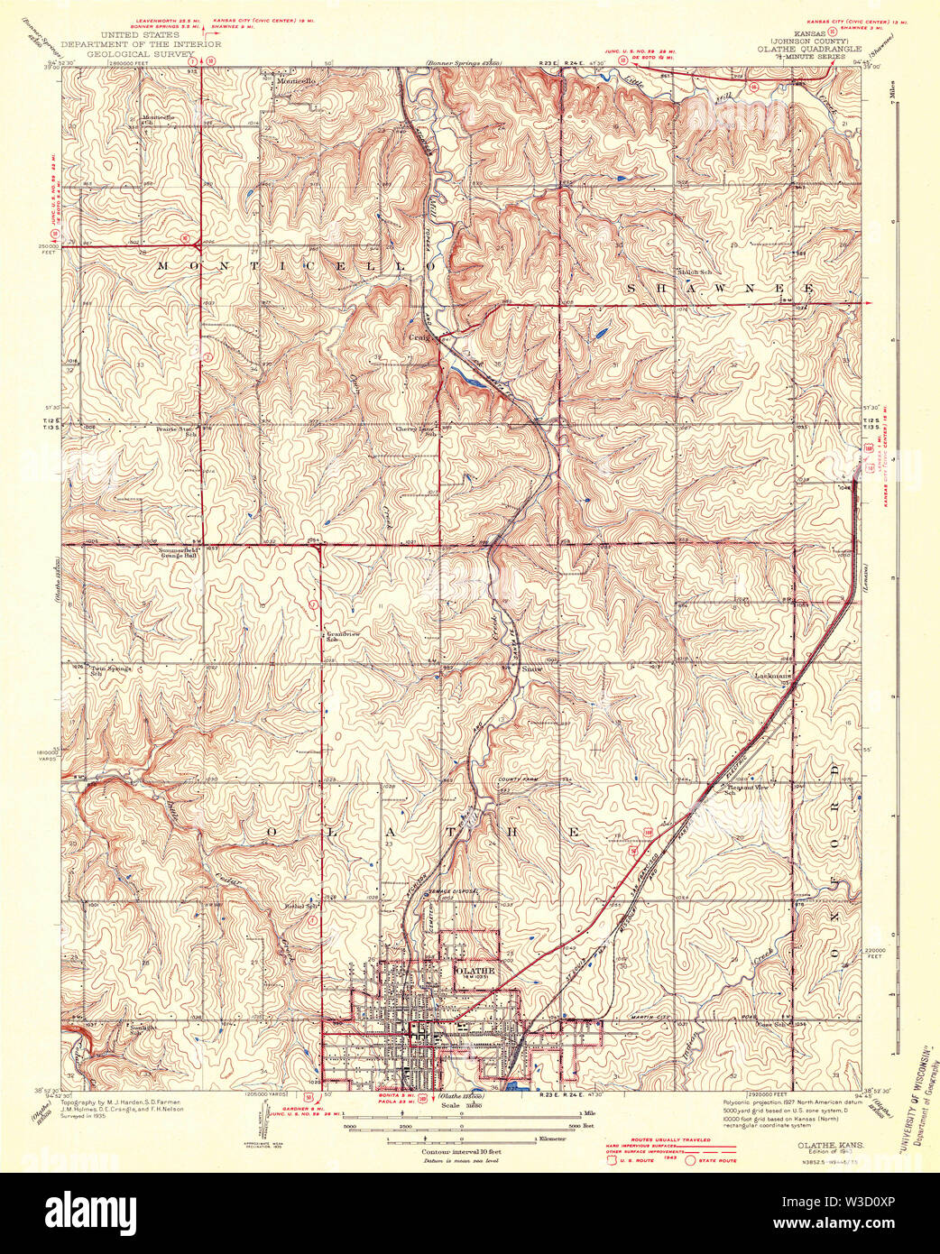 USGS TOPO Map Kansas KS Olathe 512164 1943 31680 Restoration - Stock Image