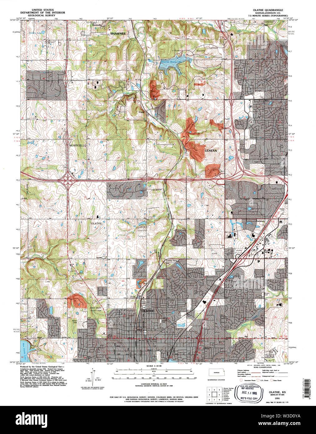 USGS TOPO Map Kansas KS Olathe 801626 1991 24000 Restoration - Stock Image