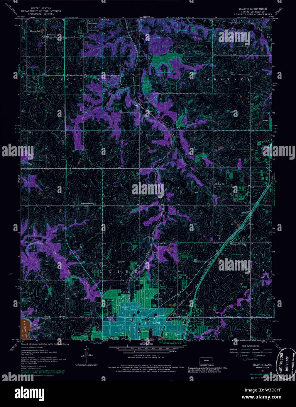USGS TOPO Map Kansas KS Olathe 801627 1956 24000 Inverted Restoration - Stock Image