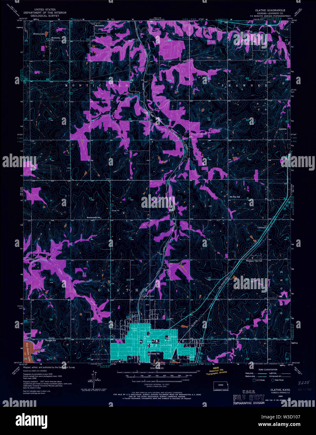 USGS TOPO Map Kansas KS Olathe 801915 1956 24000 Inverted Restoration - Stock Image