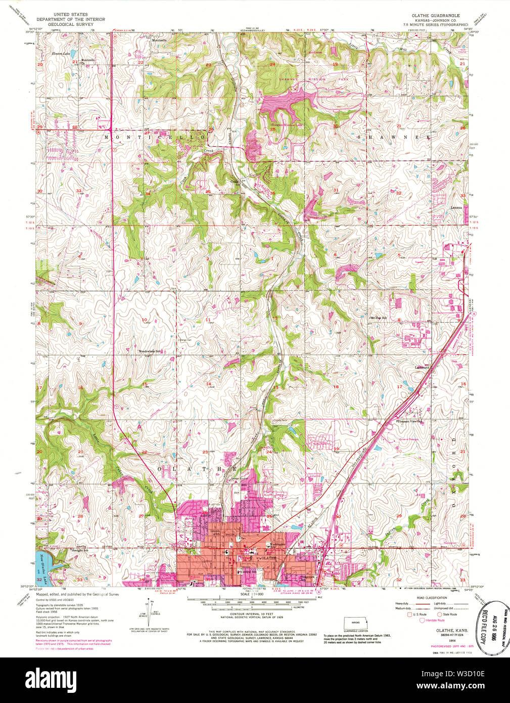 USGS TOPO Map Kansas KS Olathe 801627 1956 24000 Restoration - Stock Image