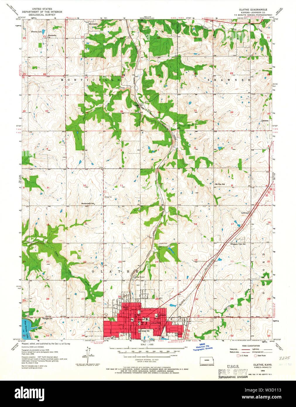 USGS TOPO Map Kansas KS Olathe 801915 1956 24000 Restoration - Stock Image
