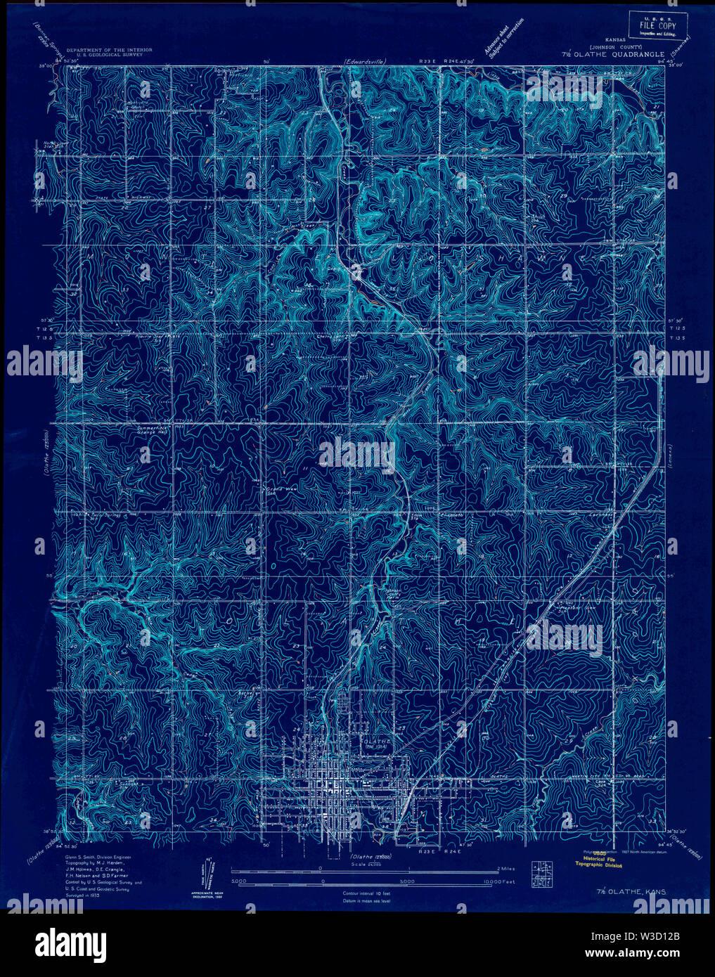 USGS TOPO Map Kansas KS Olathe 801917 1935 24000 Inverted Restoration - Stock Image