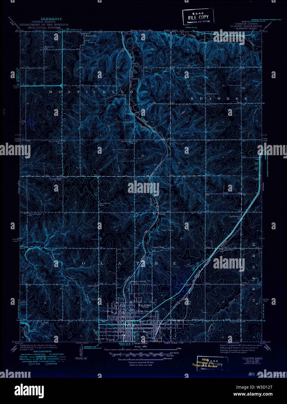 USGS TOPO Map Kansas KS Olathe 801918 1943 31680 Inverted Restoration - Stock Image