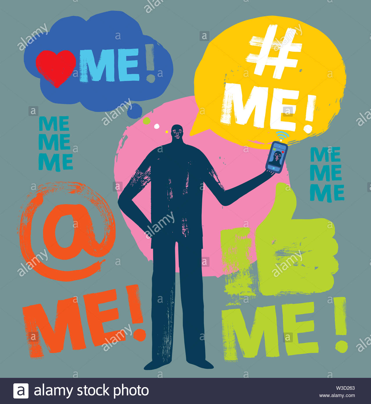 Colorful Illustration of person holding Smartphone, Social Media, Me Me Me, Text, Millennial Concept, Brush Stroke, Grunge Texture, Vector, - Stock Image