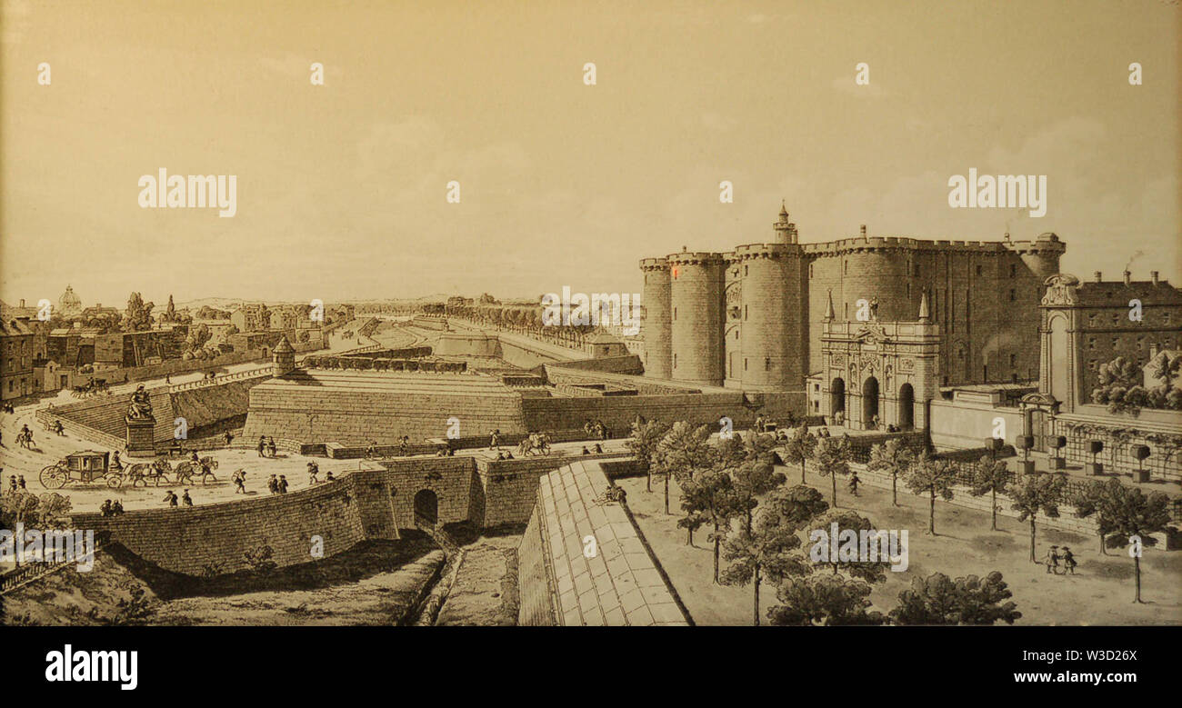 The Bastille of Paris before the Revolution. - Stock Image