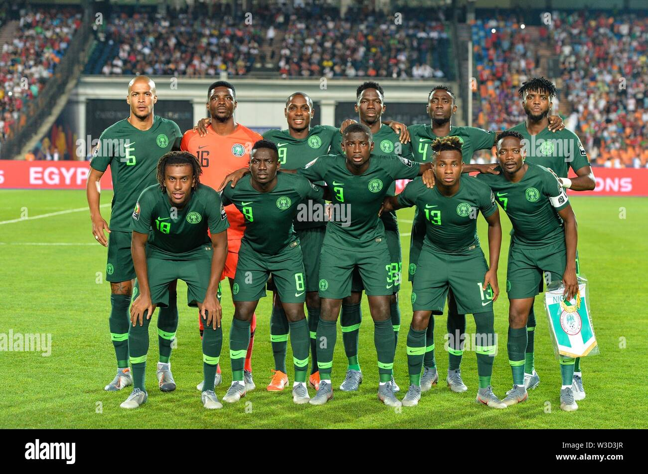 Cairo. 14th July, 2019. Players of Nigeria line up before the semifinal match between Algeria and Nigeria at the 2019 Africa Cup of Nations in Cairo, Egypt on July 14, 2019. Credit: Li Yan/Xinhua/Alamy Live News - Stock Image