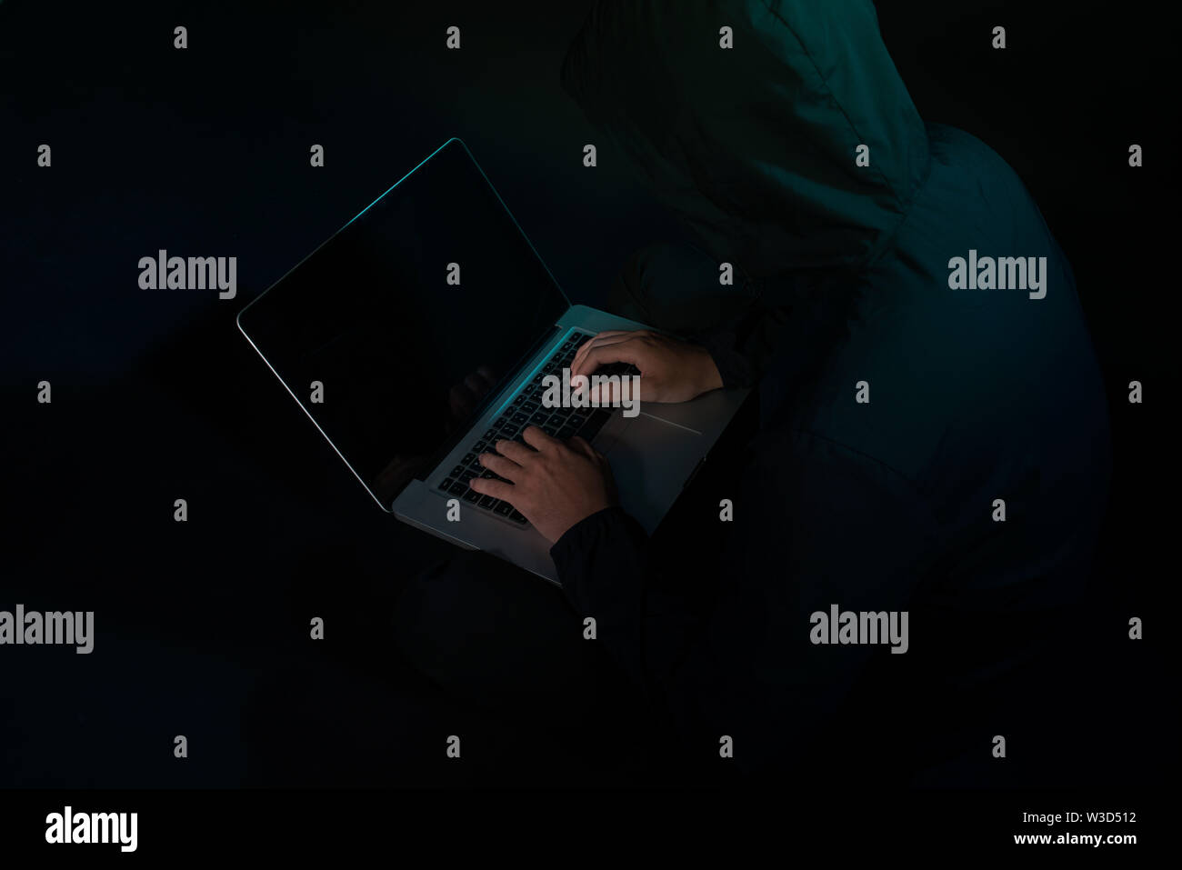 Hackers with computer data theft in the social world. - Stock Image