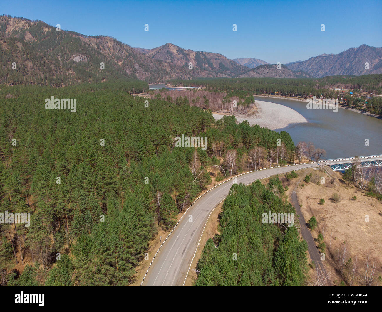 Aerial view of a road in summer landscape - Stock Image