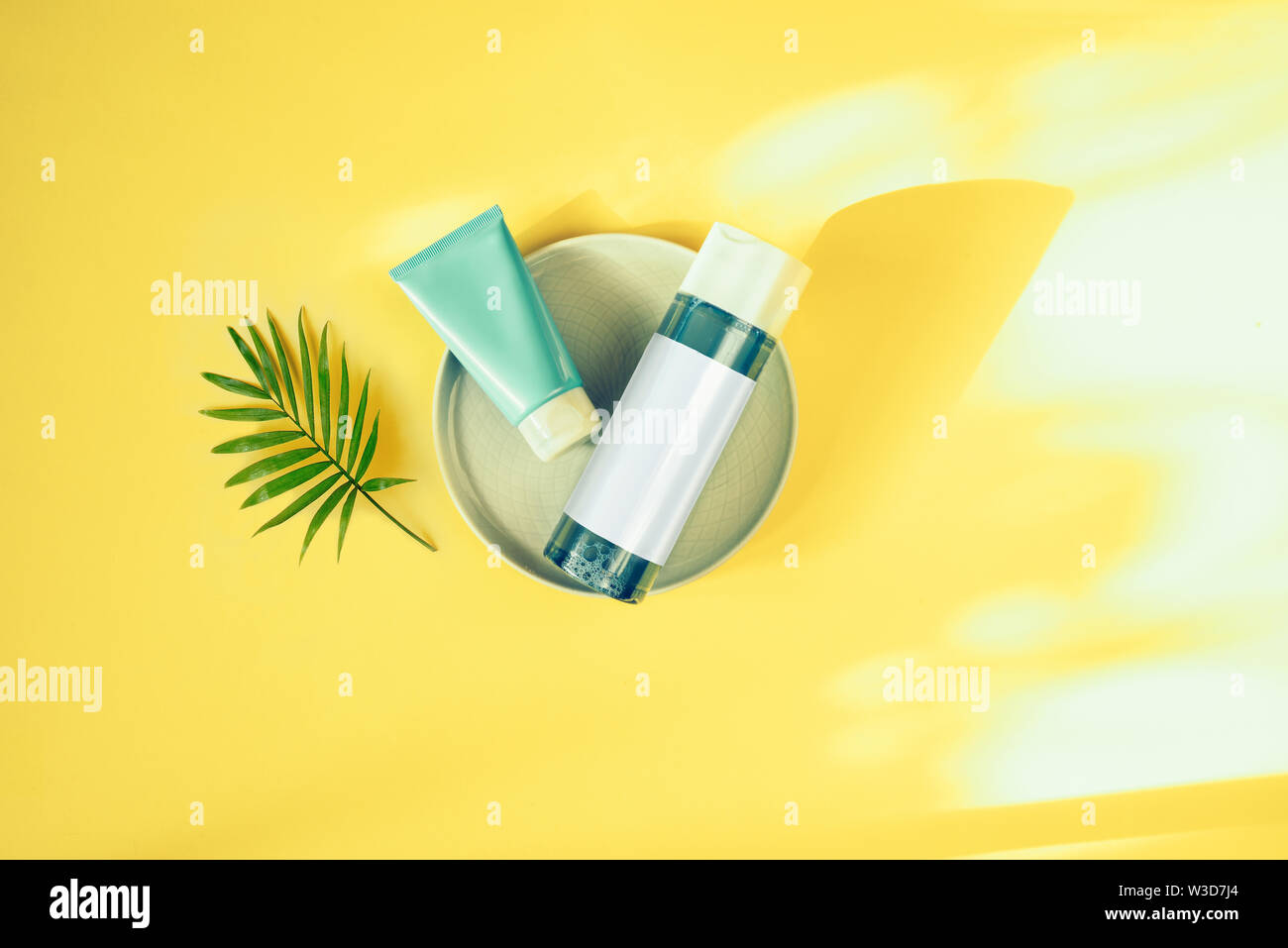 Natural cosmetic concept. Skin beauty health care concept. Moisturizers for skin. Micellar water and mask. Bio organic product Stock Photo