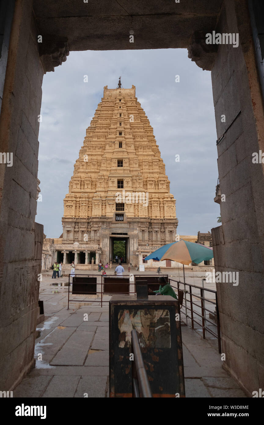 Hampi, India July 8, 2019 : Inner View of Virupaksha or Pampapati temple at Hampi, Karnataka, India - Stock Image