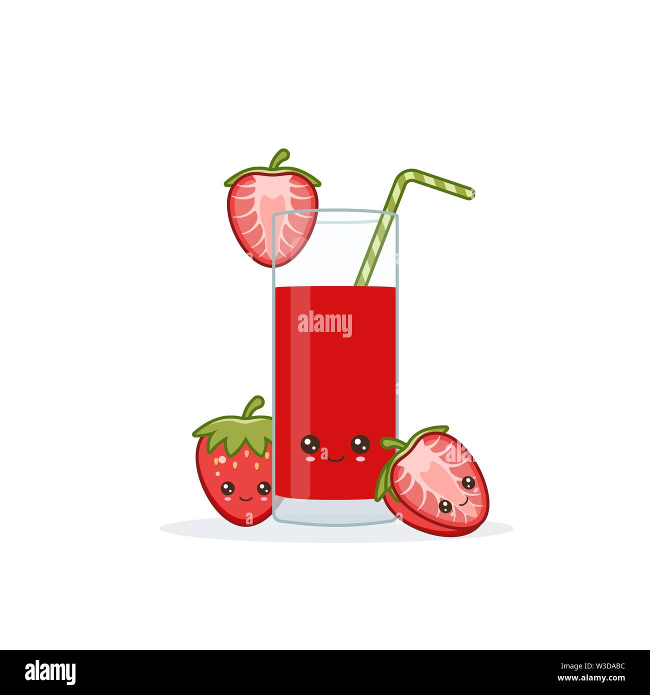 strawberry juice. Cute kawai smiling cartoon juice with slices in a glass with juice straw. Stock Vector