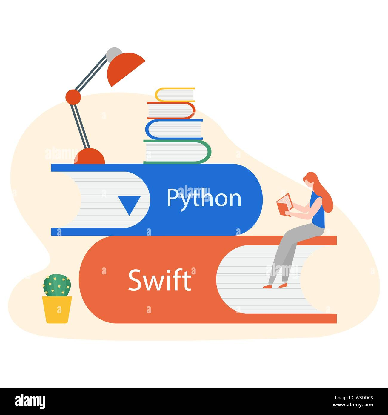 Vector illustration with people on stack of books, studying manual, working on computer. Flat style. Background for the programming landing page. Desi - Stock Image