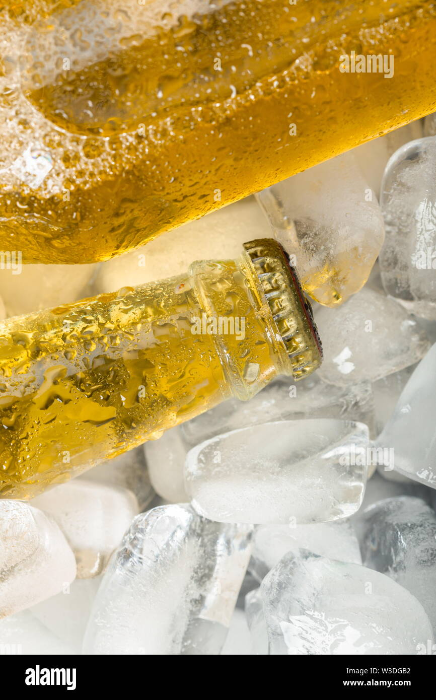 Bottles of cold and fresh beer with ice - Stock Image