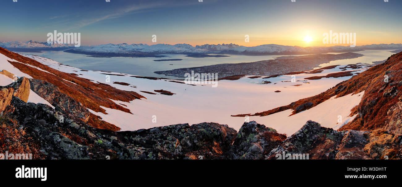 Tromso city - panorama at sunset Stock Photo