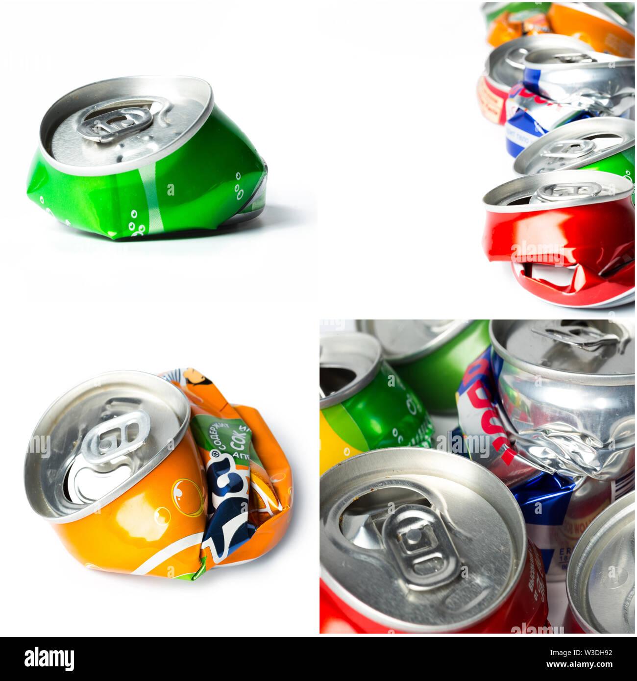 Aluminum cans isolated on white - Stock Image