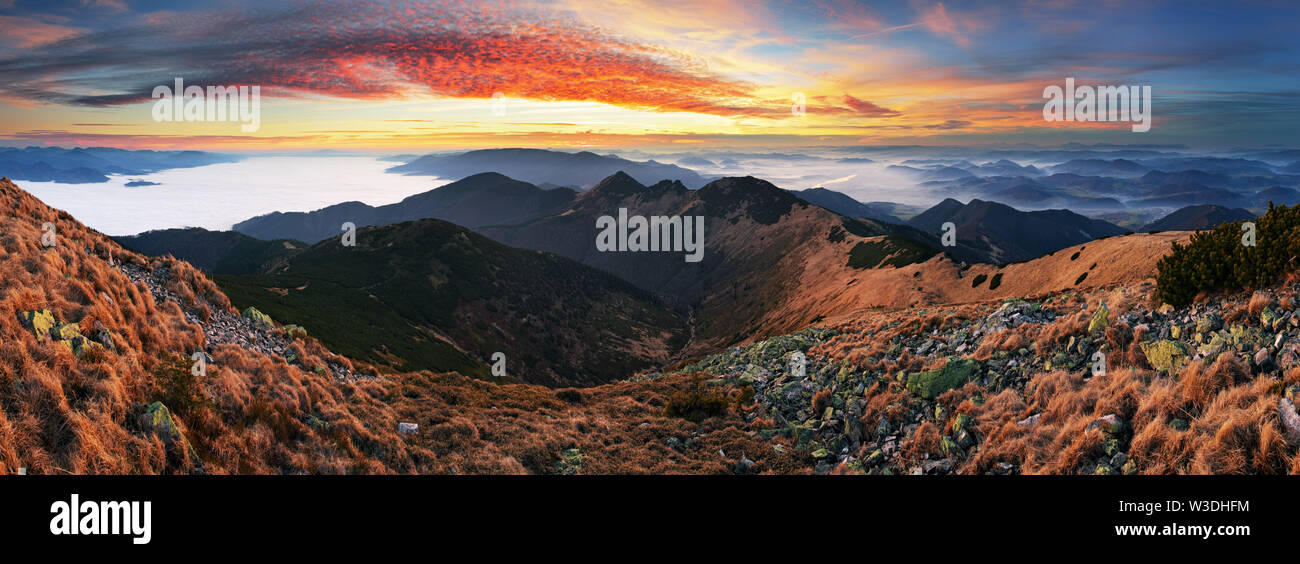 Dramatic sunset in fall mountain landscape - Slovakia, Small Krivan - Stock Image