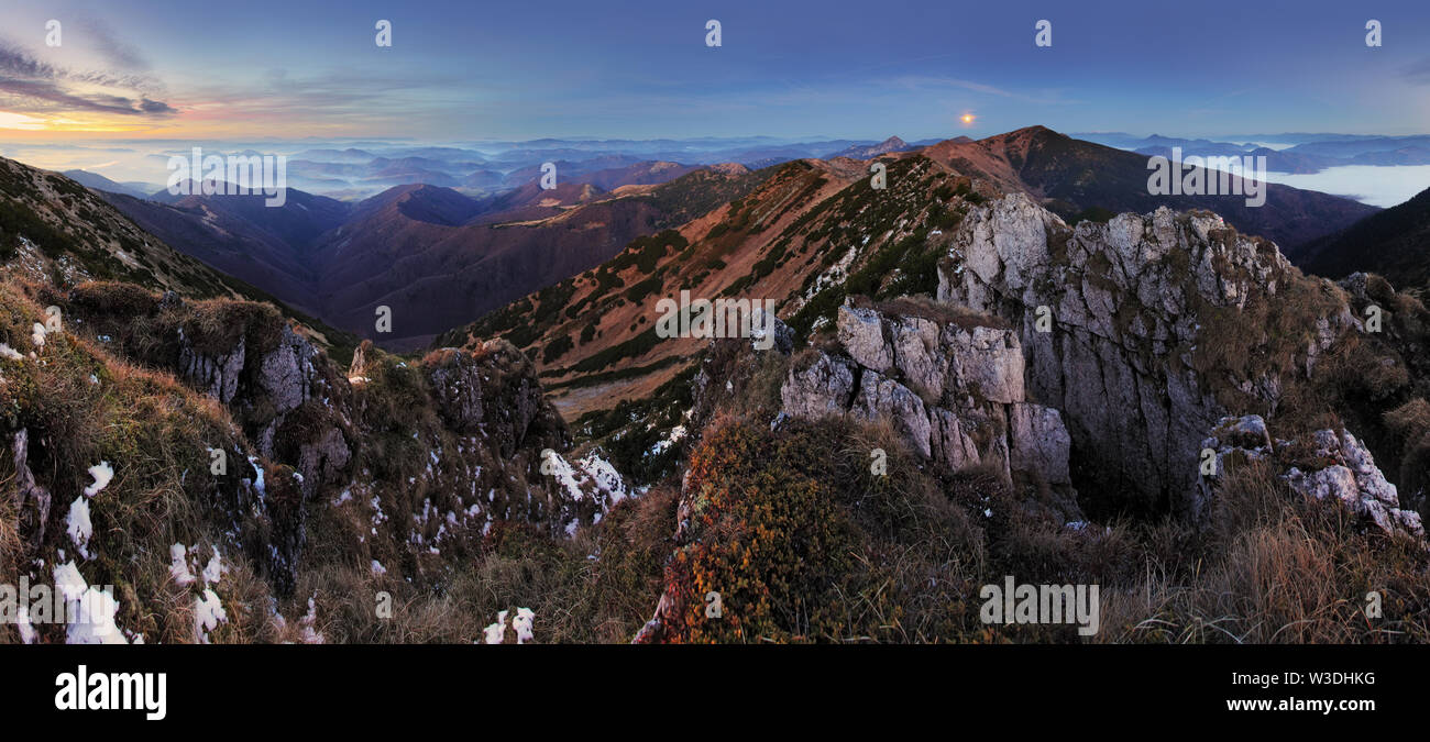 Mountain panorama with moon in Slovakia Fatras - Stock Image