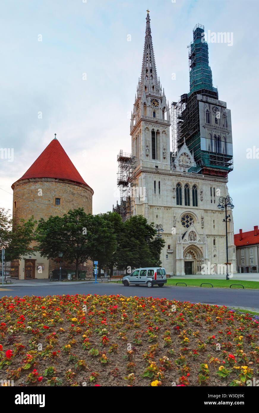 Zagreb, cathedral in Croatia Stock Photo
