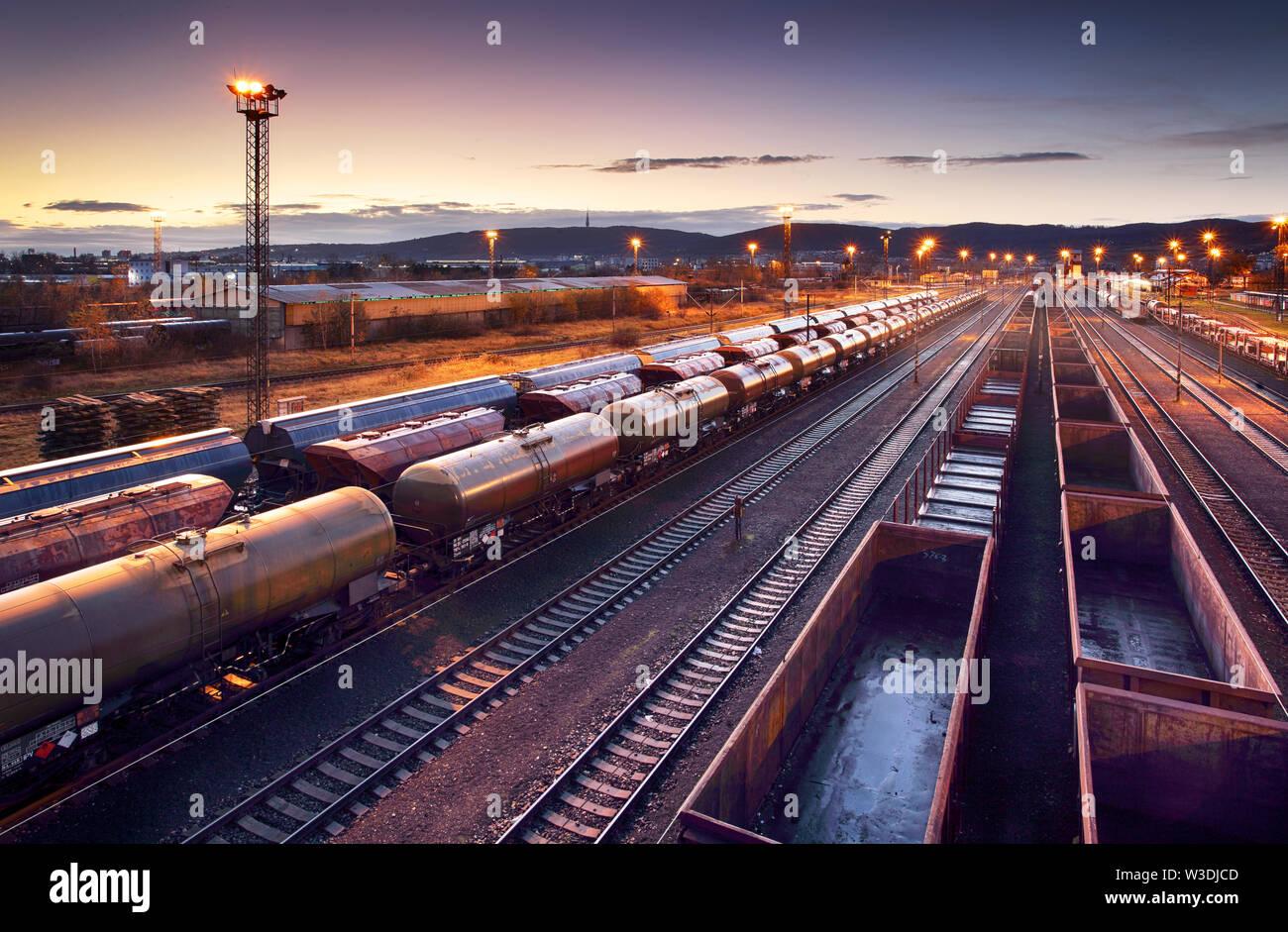 Railway station freight trains, Cargo transport - Stock Image